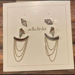 Stella & Dot Silver Drape Ear Jacket